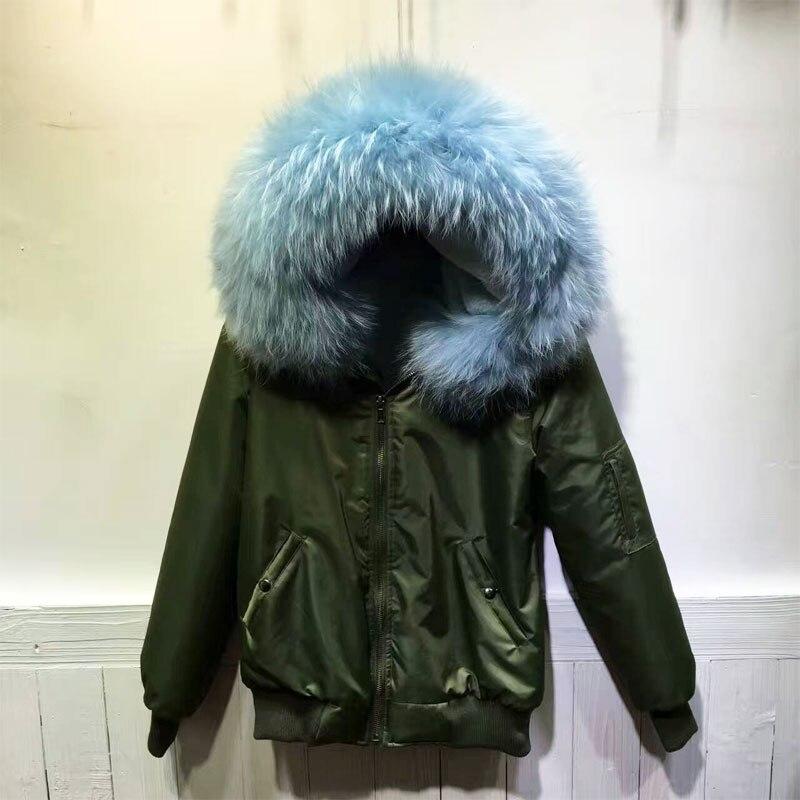 Winter Bomber Jacket for women Light Blue Bomber Jacket Big Raccoon collar Unisex