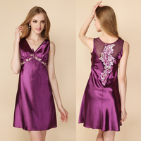 2018 Hot New Women's Solid Hollow Embroidery Sleepwear Summer Style Girls Sxey Silk Nightgowns Sleep Dress Ladies Home Suits