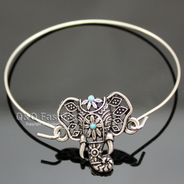 Silver Filigree Turkey Blue Stone Elephant Om Hindu Ganesha Ganesh Bracelet Bangle Cuff Jewelry 2018 New