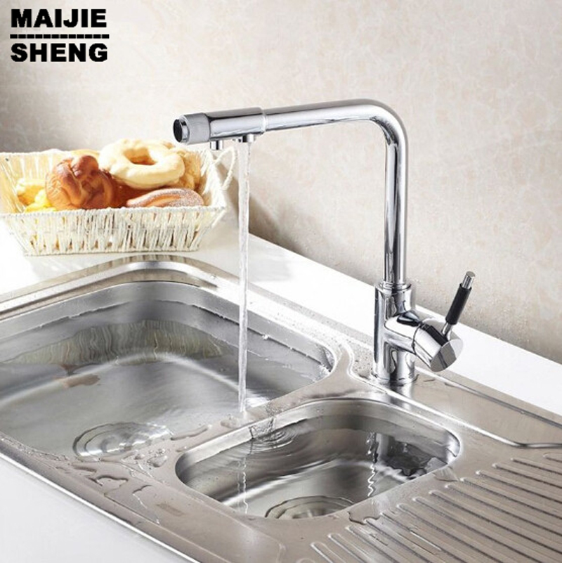 Pure Water Faucet Deck Mount Polished Chrome Brass Kitchen Faucet Three 3 way Kitchen Mixer Taps