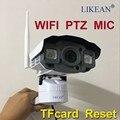 1920*1080 WIFI P2P 2.0MP MICROFONE Full HD Câmera IP 1080 P ao ar livre À Prova D' Água IP66 PTZ Pan/Tilt Controle Controle TF slot Grátis grátis