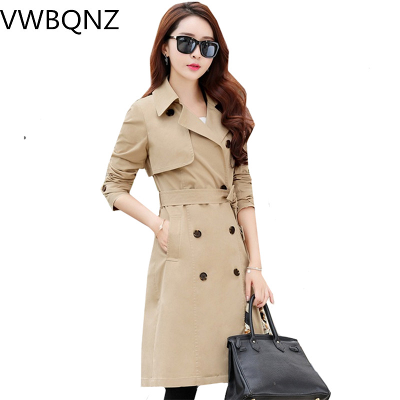 2019 Spring New Slim Windbreaker Gray Khaki Women Long Coat Overcoat Solid color Casual Female   Trench   Coat Fashion Clothing 3XL
