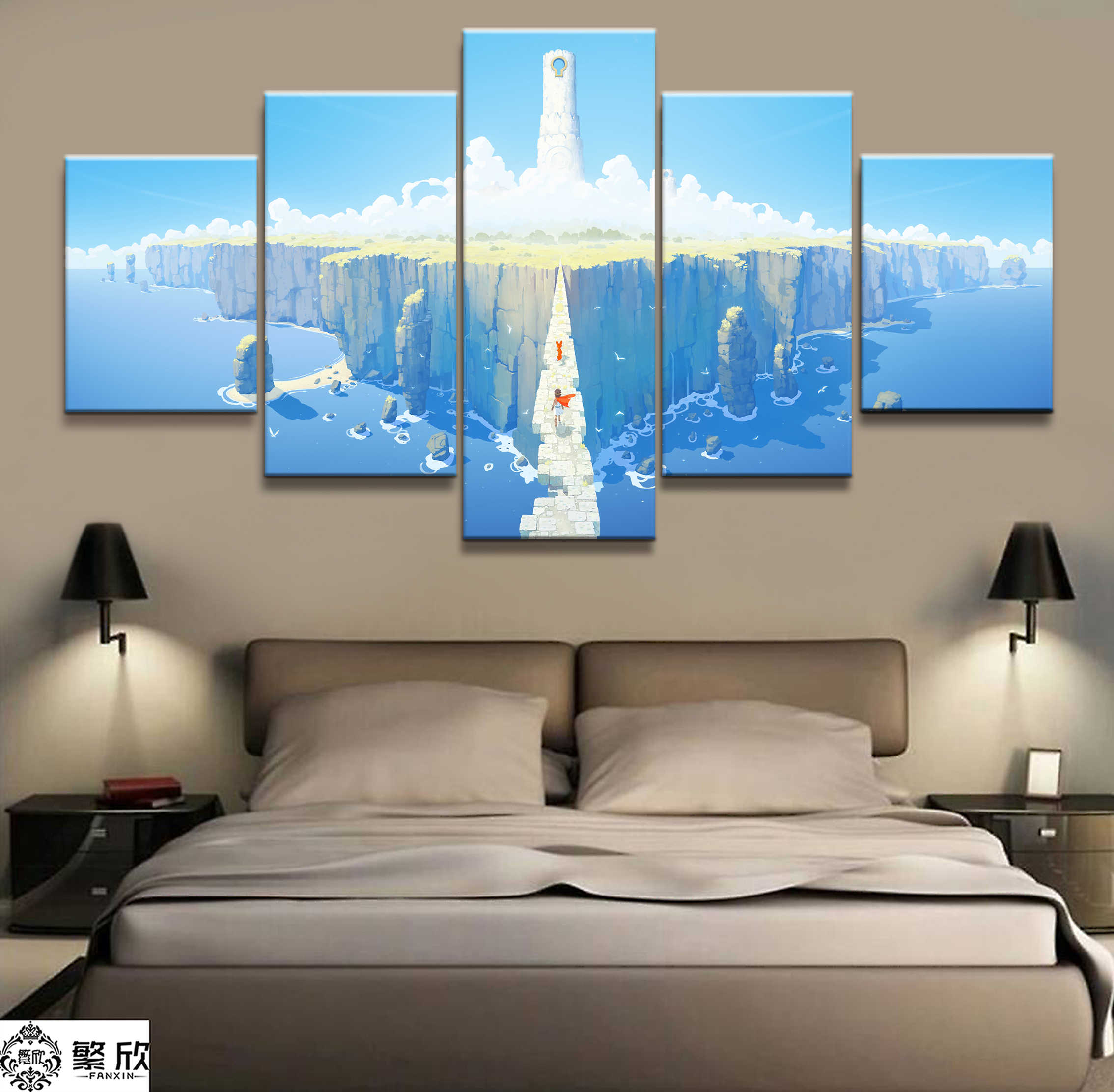 Home Decor Modular Canvas Picture 5 Piece RiME Game Poster Painting Art Wall For Home Canvas Painting Wholesale
