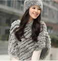 2016 Autummn Winter Real Fur Pashmina Women Shawls And Scarves For Ladies Handmade Knitted Rabbit Fur Poncho Fur Shawl