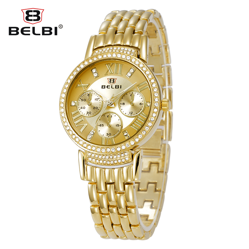 2016 Belbi Women Watch Lady New Fashion Luxury Brand Quartz Klockor Casual Roman Style Alloy Quartz-Watch Rhinestone Armbandsur