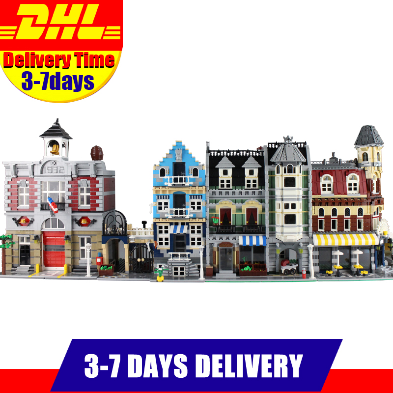 LEPIN City Street 15002 Cafe Corner 15004 Fire Brigade Station 15007 European Market 15008 Green Grocer Blocks Set Bricks Kits lepin 15008 2462pcs city street green grocer legoingly model sets 10185 building nano blocks bricks toys for kids boys