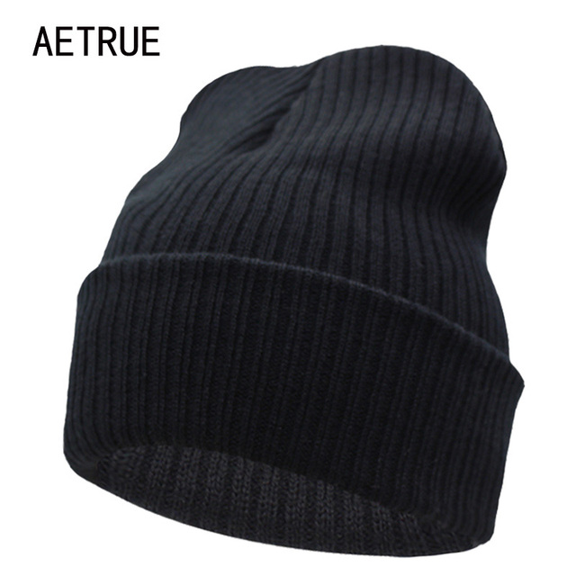 Beanies Winter Hat For Men Knitted Hat Women Winter Hats For Women Men Knit  Caps Blank Casual Wool Warm Flat Bonnet Beanie 2018 86968bfa1afe