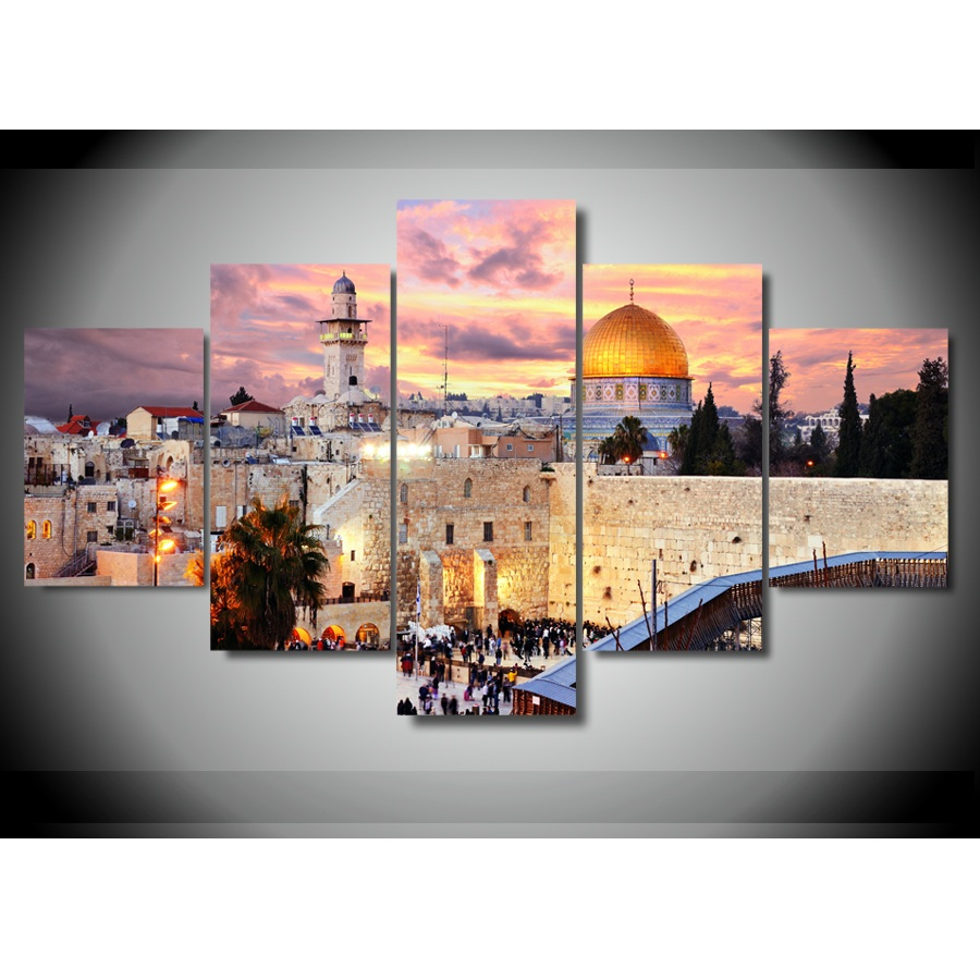 5 pieces jerusalem modular picture hd printed painting on canvas