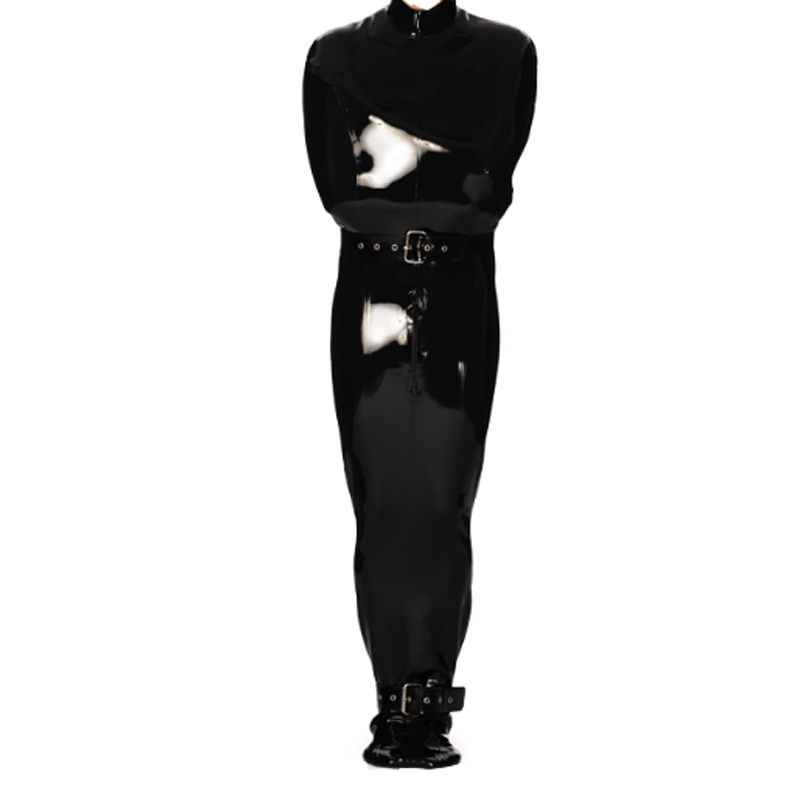 Latex Natural Rubber Cosplay Black Costume Adjustable Belt Male Catsuit Gummi Solid Wetlook Black Customized Size XXS-XXL