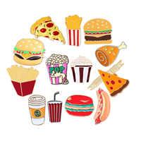 13 stil Snack Brosche Burger Pizza Huhn Getränke Kaffee Popcorn Französisch Frites Heißer Hund Emaille Pins Lebensmittel Brosche Für Frauen schmuck