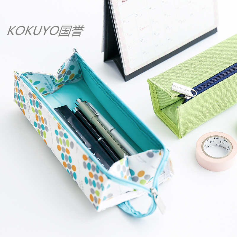 High Quality Japanese Stationery KOKUYO Square Scalable Capacity Pencil Case Portable Student Pouch Bag Cute Pen Box Gifts big capacity high quality canvas shark double layers pen pencil holder makeup case bag for school student with combination coded lock