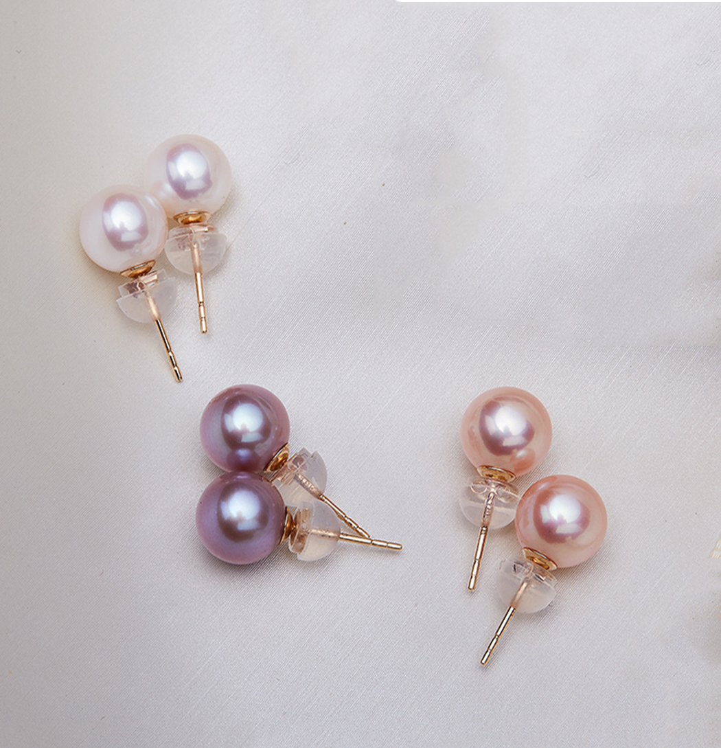 ICNWAY Natural Round Freshwater Pearl Earring for Women 14k Gold Plated s925 Stud Natural Color