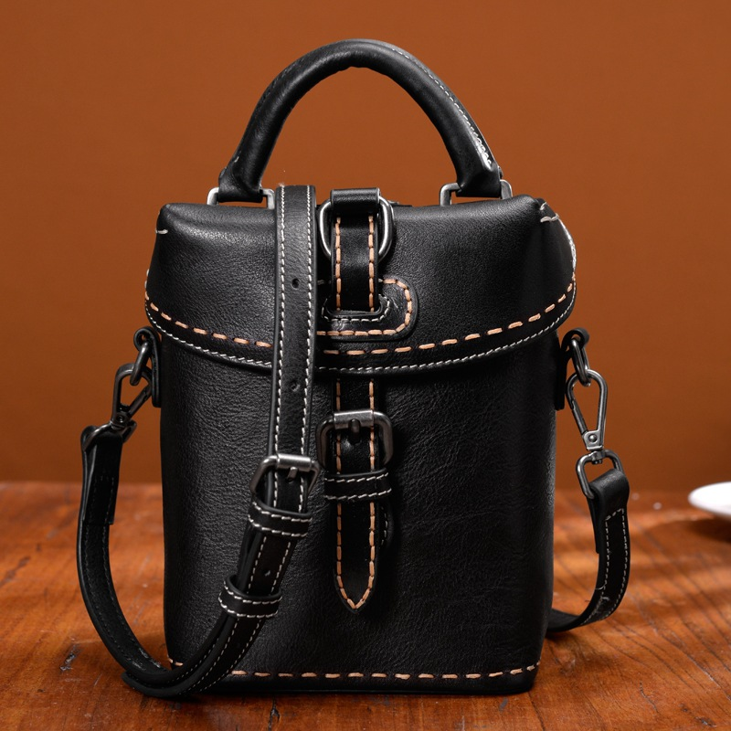 Genuine Leather Messenger Bag For Women Bolsa Feminina Vintage Cowhide Mini Crossbody Shoulder Bags Bucket Bag sac a main romanson tl 0337 lj wh