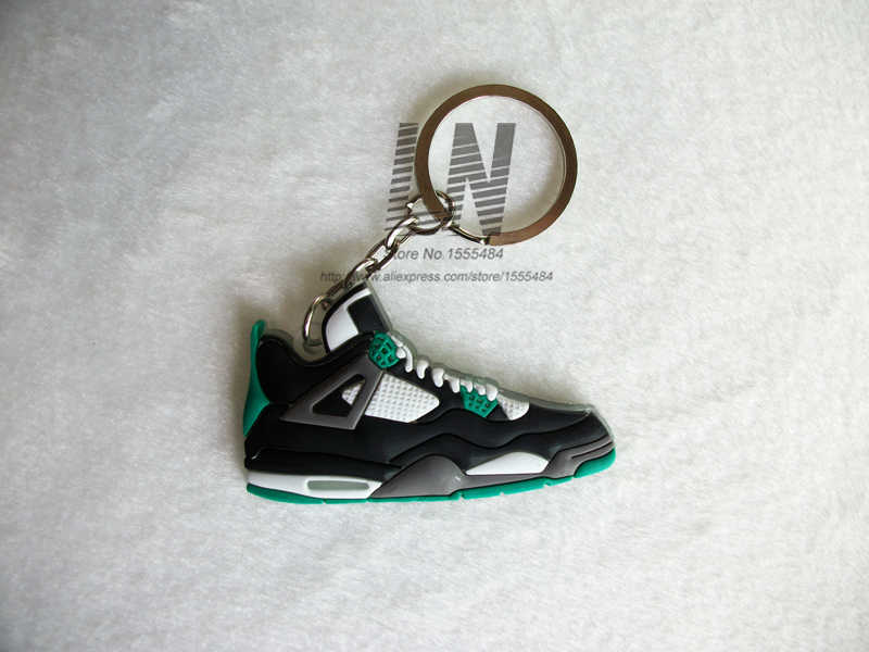 2116e7e11 ... Mini Silicone Jordan 4 Keychain Bag Charm Woman Men Kids Key Ring Gifts  Sneaker Key Holder ...