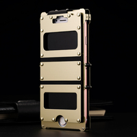 Luxury 24K Gold plated Metal Case For Apple iPhone 7/ 7 Plus/ 8/ 8 Plus/ 6 6s/ 6s Plus Stainless Steel Vertical Flip Case Cover