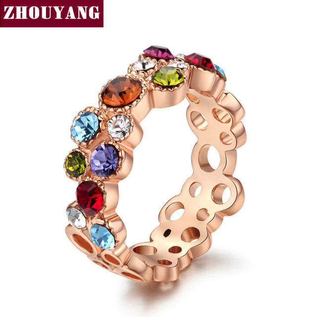 Mmulticolour CZ Crystal Sweet Summer Flower Rose Gold Color Ring Party Wedding Gift Full Sizes Wholesale Top Quality ZYR028
