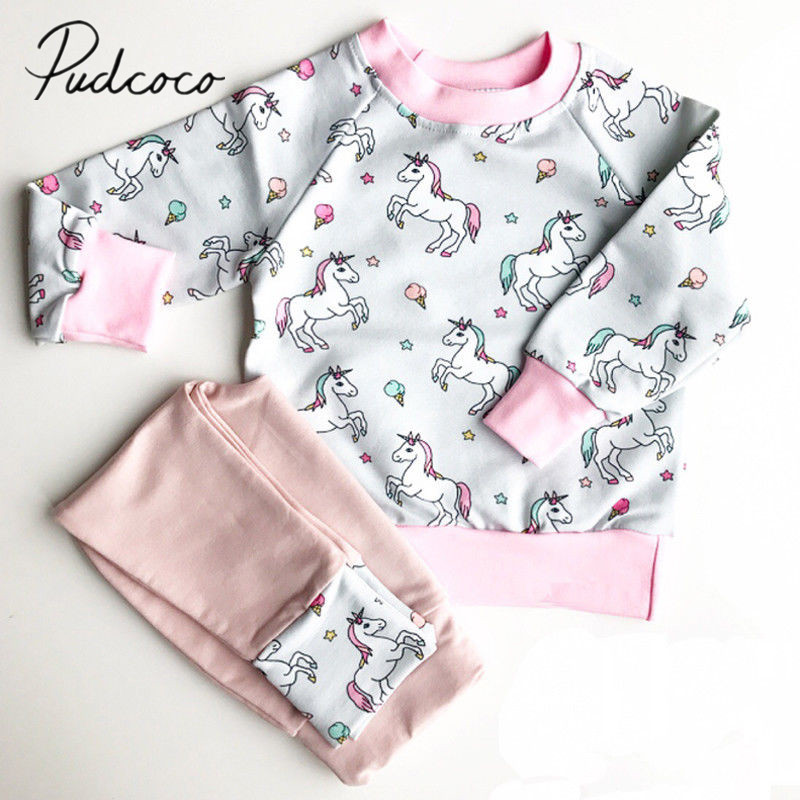 2017 Brand New Unicorn Newborn Toddler Infant Kids Baby Girl Cartoon Clothes Long Sleeve Top Hoodie Pants 2Pcs Set Casual Outfit