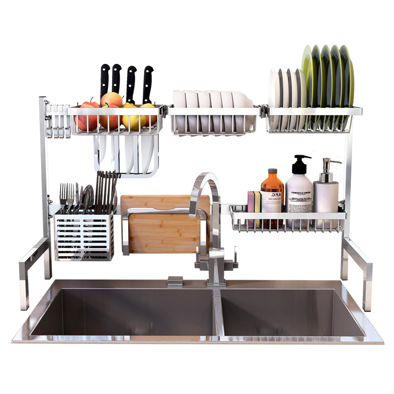 304 Stainless Steel Kitchen Organizer and Dish Dryer with Multilayer Racks for Drying Plates and Cutlery