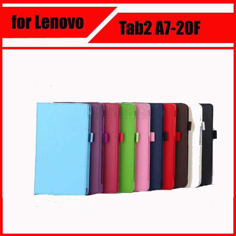 3 in 1 Luxury Litchi Pattern PU Leather Case Cover For Lenovo TAB 2 Tab2 A7 20f A7-20F + Screen Protector + Stylus for lenovo tab 2 a7 30 2015 tablet pc protective leather stand flip case cover for lenovo a7 30 screen protector stylus pen