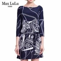 Max LuLu Brand 2017 Bodycon Autumn Print Blue Dress Women Office Work Sexy Dresses Casual Fashion Hot Sale Women's Clothing Free