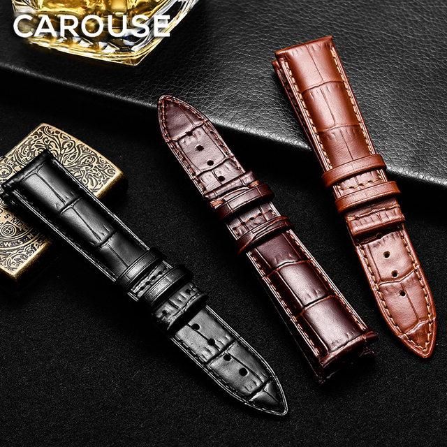 Carouse Calf Genuine Leather Watchband size 14mm 16mm 18mm 19mm 20mm 21mm 22mm W