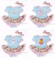 イースター白ブルーポルカドットボディスーツジャンプスーツロンパース虹波パターンペチコート赤ちゃんdressヘッドバンドnb-18m majs0103