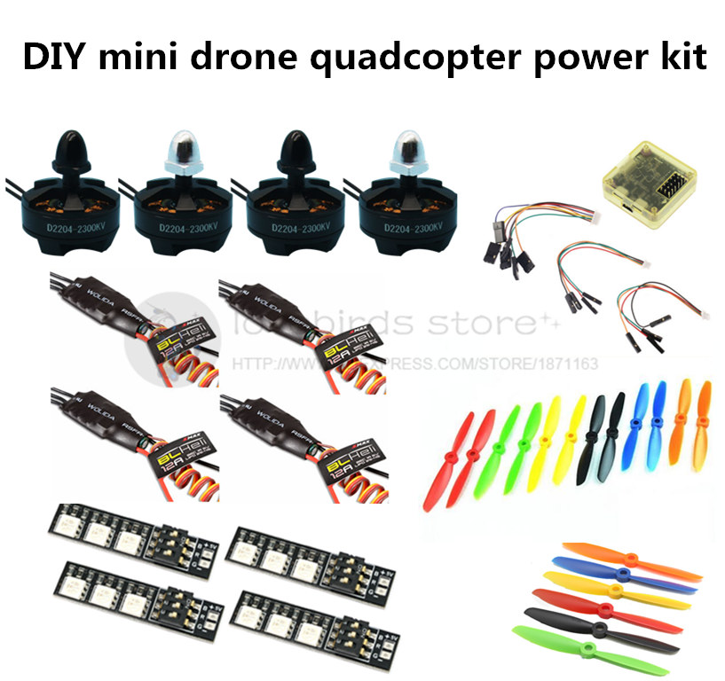 DIY quadcopter power kit CC3D + D2204 2300KV + EMAX BLheli 12A ESC+5045/6045 propellers for QAV250 / nighthawk 250 / Robocat 270 mini zmr250 carbon fiber quadcopter cc3d evo control mt2204 2300kv motor emax blheli firmware 20a esc 5045 prop led lights board