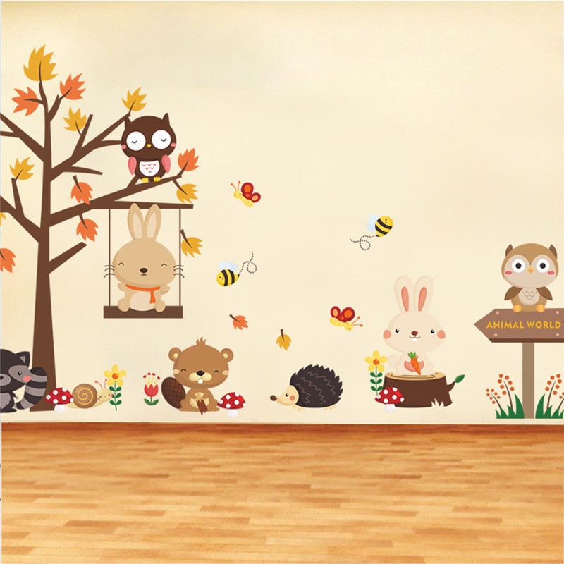 forest animals wood rabbit bear wing tree wall stickers for kids bedroom nursery decorations home decor - Nursery Decorations