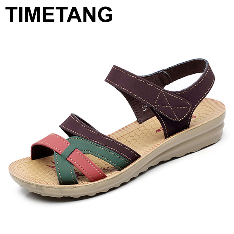 TIMETANG Mother sandals soft leather large size flat sandals summer casual comfortable non - slip in the elderly women 's shoes timetang 2017 leather gladiator sandals comfort creepers platform casual shoes woman summer style mother women shoes xwd5583
