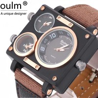 Famous Brand Men S Luxury Sports Adventure Fabric Wristwatches Oulm Watch With Square Shape 2 Dials