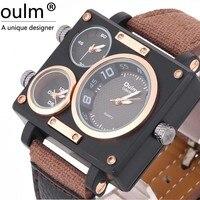 Известный бренд Для мужчин роскошный спортивный Приключения Ткань Наручные часы OULM часы с квадратной Форма 2 набирает Relogio Мужской Часы