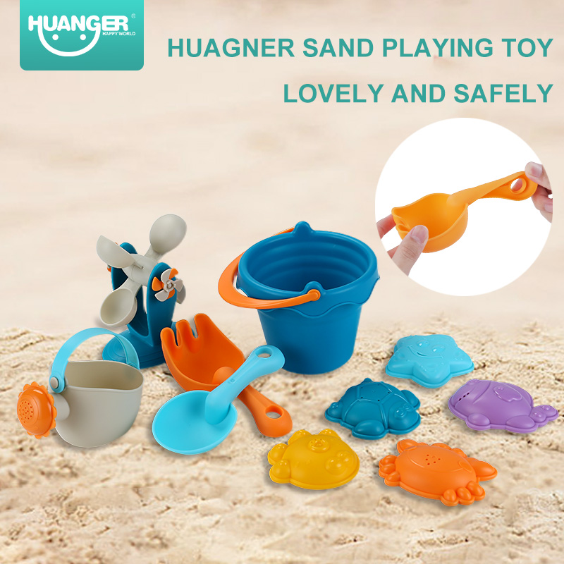 Bath Toy Huanger 10pcs Bath/beach Toy Set Safely Rubber Sand Molds Bucket Rakes Sand Wheel Water Outdoor Beach Toys For Boys Gifts To Ensure Smooth Transmission