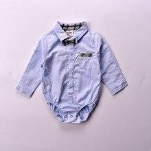 Bodysuit do bebê 2018 primavera crianças camisas com laço de manga curta bebê meninos bodysuit camisa formal Vestidos Meninas Roupas Bebes