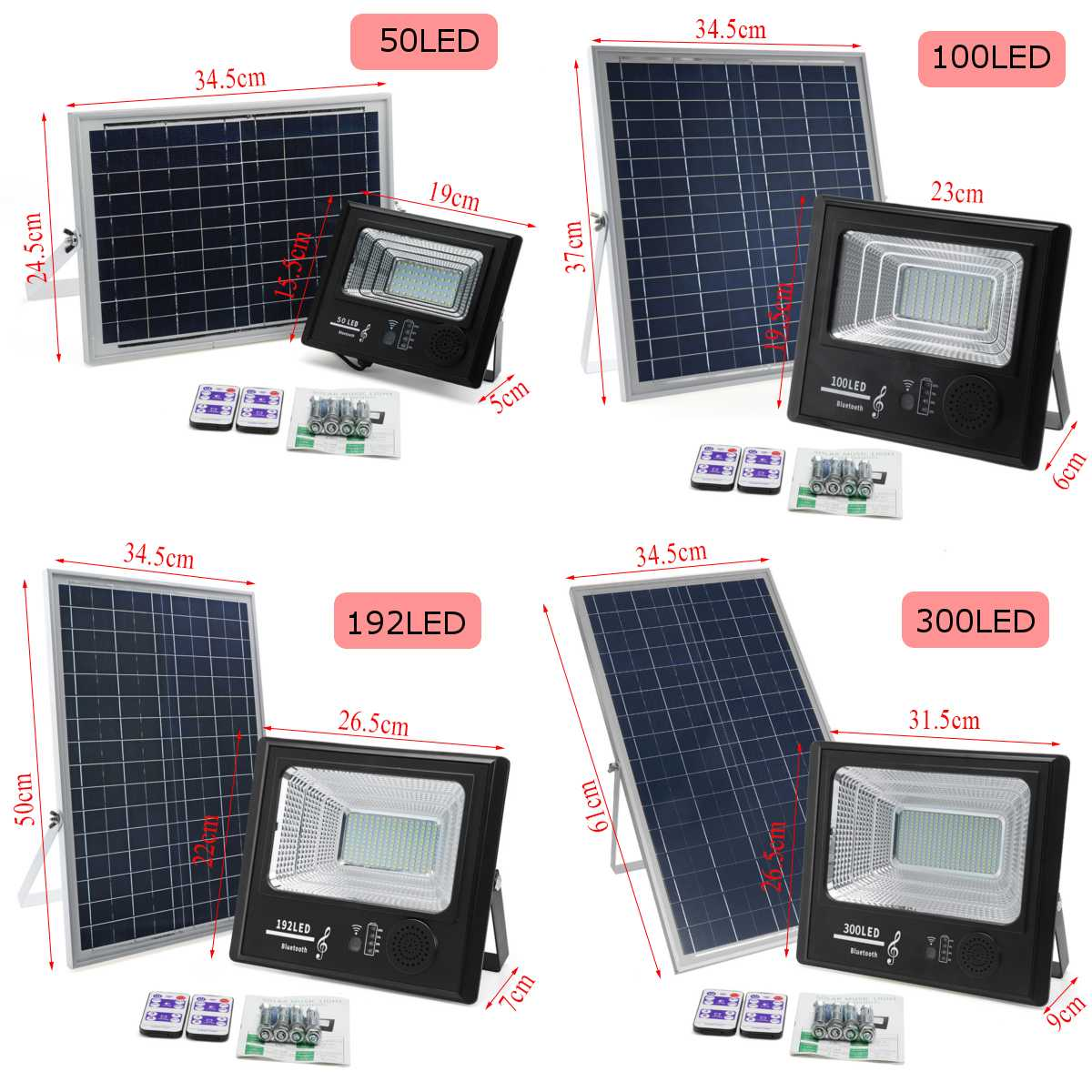 300 led energia solar 50 w 100