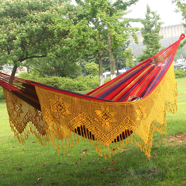 Medium image of love free child outdoor swing chair pure cotton cloth hammock with tassel pure manual increase double