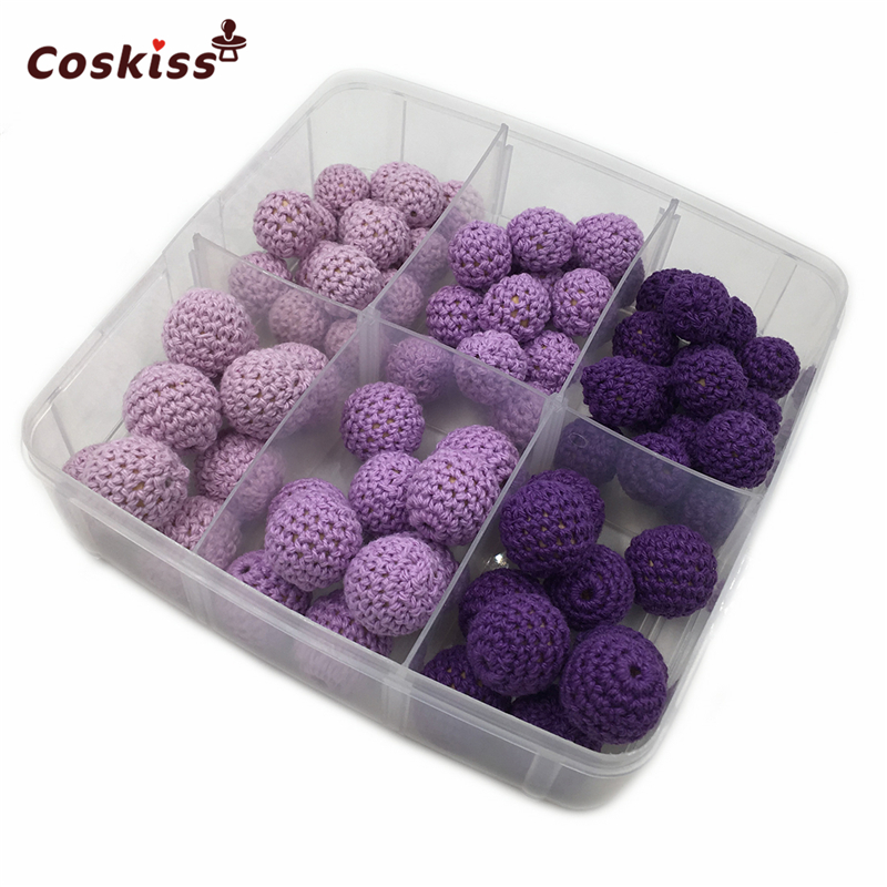 75pcs Purple Series Crochet Beads Available For Knitted By Cotton Thread DIY Baby Teether Jewellery Making Kit