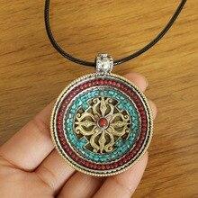 PN052 Тибетский ювелирный крест дорье амулет винтажный непальский медный коралловый зеленый камень 48 мм круглый кулон ожерелье