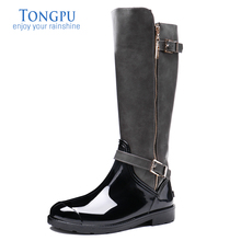 цены TONGPU Women's Sharon PVC Rain Boots Ladies Waterproof Zipper Winter Boots 0958