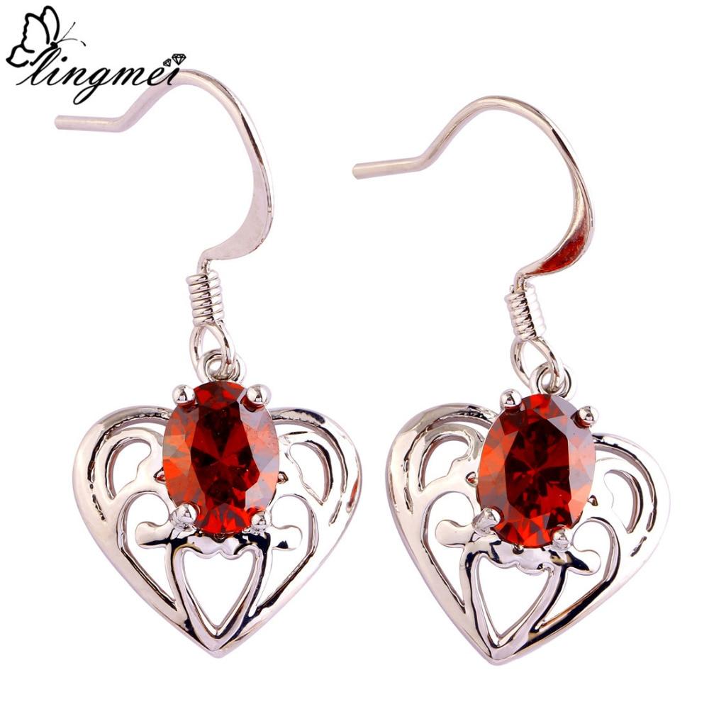 d416069144d5 Lingmei fsshion corazón diseño oval cut granate cuelga del gancho de plata  Pendientes joyería de la boda de las mujeres envío libre