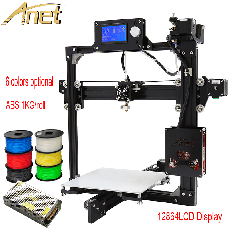 High Quality Full metal Frame Anet A2 3d printer Kit DIY Easy Assemble+Aluminum Hotbed+SD card +Tools+Free 0.5KG ABS 3d filament anet a6 upgraded prusa i3 3d printer easy assemble pla abs filament 16gb sd card knob lcd screen high quality cheap 3d printer