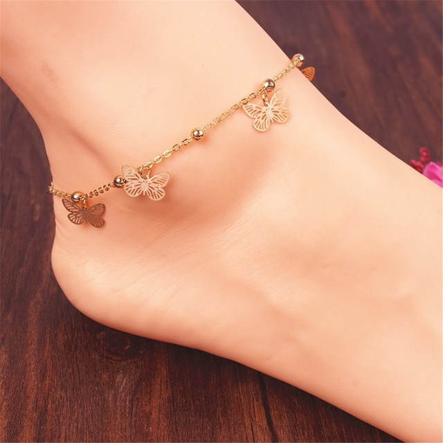 c21386edc New Arrival Butterfly charm anklet bracelet for women gold Bracelet on a leg  fashion foot chian girl ankle love jewelry