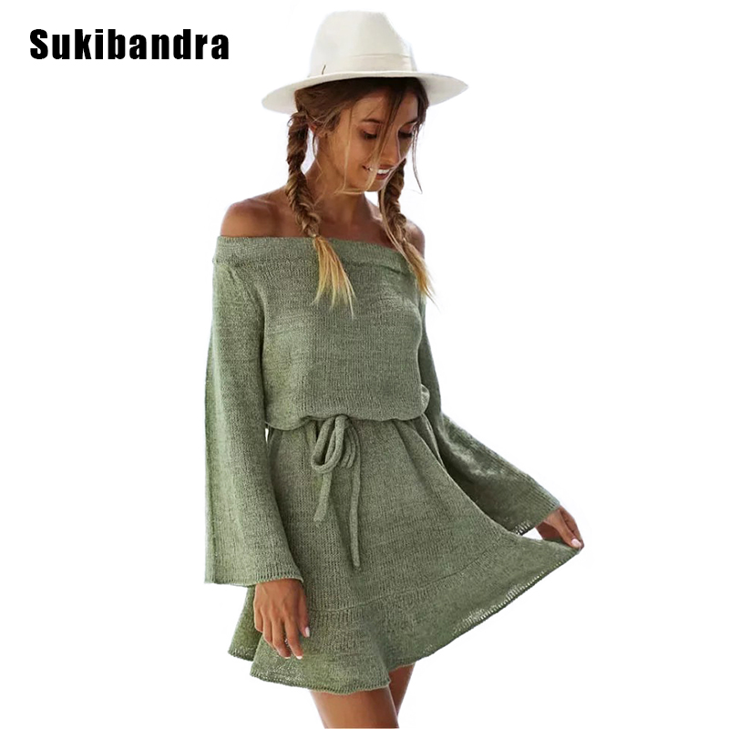 Sukibandra Autumn New Off Shoulder Long Sleeve Ruffle Pullover Sweater Dress for Women Casual Short Loose Knitted Sweater Dress