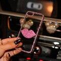 Bling crystal Diamond lip funda capa Coque Caso Para Huawei honor 5x V8 4A 5A 6 7 P7 P8 P9 4C 5C Lite Plus G7 G8 disfrutar de 5 Carcasa