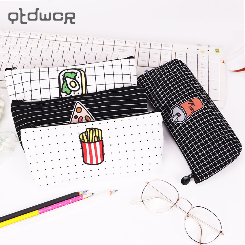 Creative Food Pizza Fries Pencil Case Canvas Pencil Bag for Kids Learning Gifts School Supplies