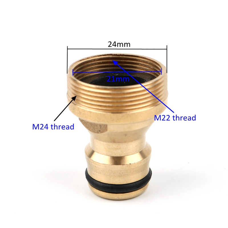 HTB1E1j6TY2pK1RjSZFsq6yNlXXaS Brass M22 M24 Thread Hose Water tube Connector Tap Snap Adaptor Fitting Garden Quick Connector
