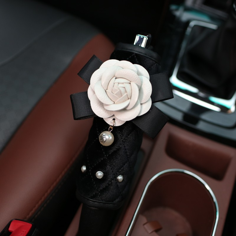 Winter-Plush-Flower-Car-Seat-Interior-Accessories-Crystal-Steering-Wheel-Cover-Headrest-Shifter-Gear-Cover-5