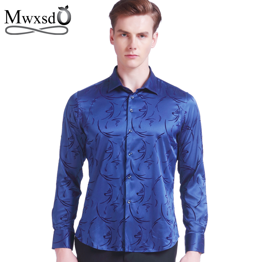 Mwxsd Plus Size 5xl 2019 Men's Luxury Shirts Wedding Party Dress Long Sleeve Shirt Silk Tuxedo Shirt Men Mercerized Cotton Shirt