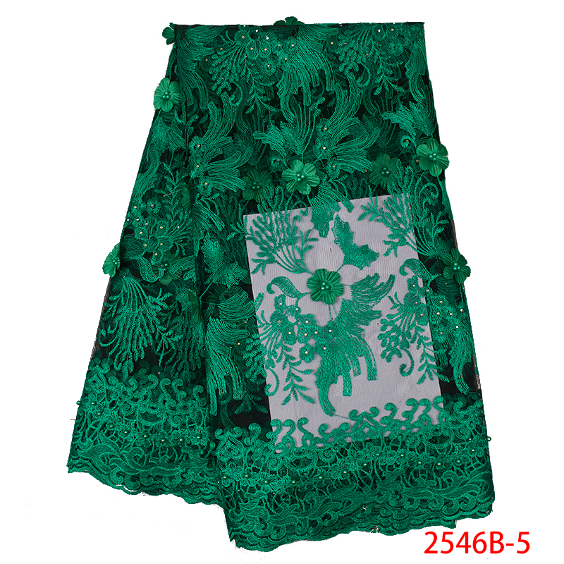 Green African Lace Fabric Top Selling Nigeria Mesh Fabric for Women Wedding Embroidered 3D Flowers Fabrics