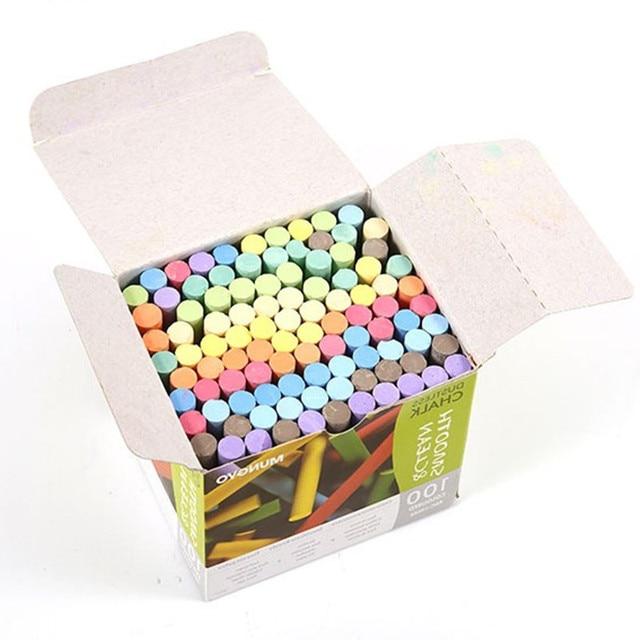 100 pcs/box Multi-color Chalk white Non Dust Clean Teaching Hold For Teacher Children Home Education Board chalk school supplies