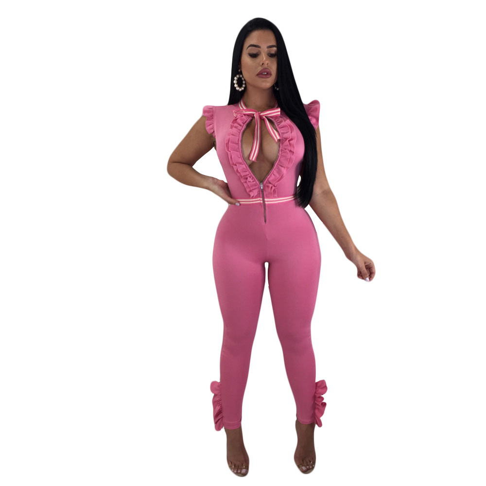 b5dca9edad1 2018 Summer Rompers Outfit Womens Jumpsuit Ruffle Sleeveless Zipper Front  Bow Tie Sexy Long Playsuits One Piece Bodycon Jumpsuit-in Jumpsuits from  Women s ...